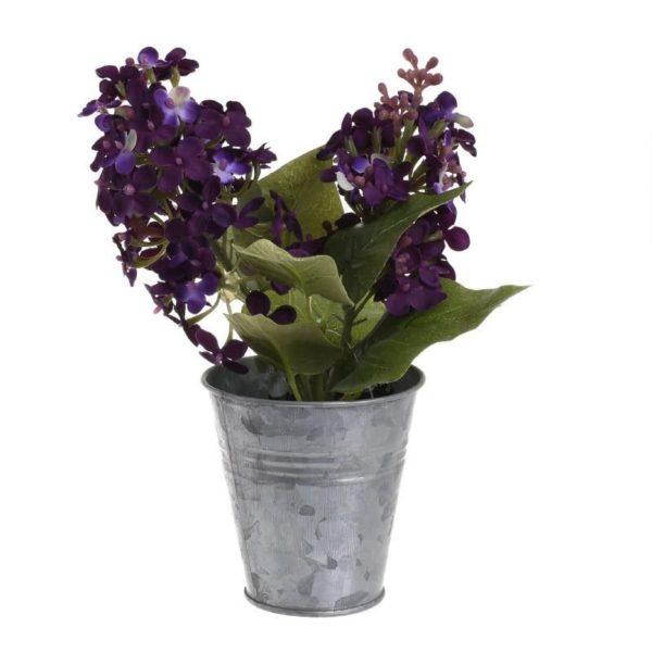 Τεχνητό Λουλούδι Σε Γλαστράκι Μωβ/ Ασημί Υ20