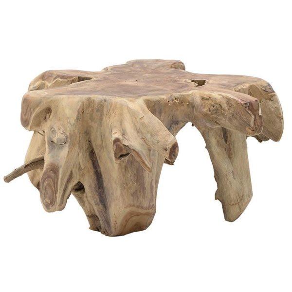 Τραπέζι Σαλονιού Ακατέργαστο Από Φυσικό Ξύλο Μασίφ Natural 80x60x46, Inart