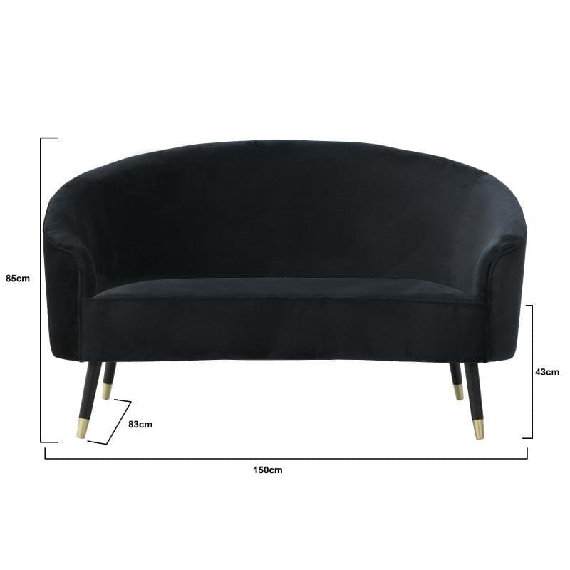 Καναπές Διθέσιος Βελούδινος Μαύρος 150x83x85/43, Inart