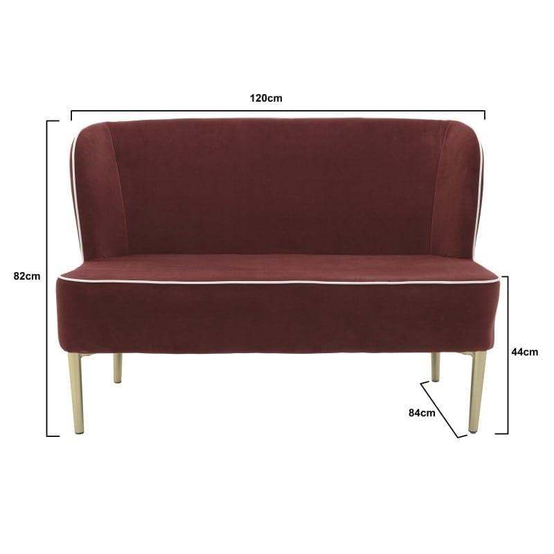 Καναπές Διθέσιος Υφασμάτινος Κόκκινος Με Χρυσό Ρέλι 120x84x82/44, Inart