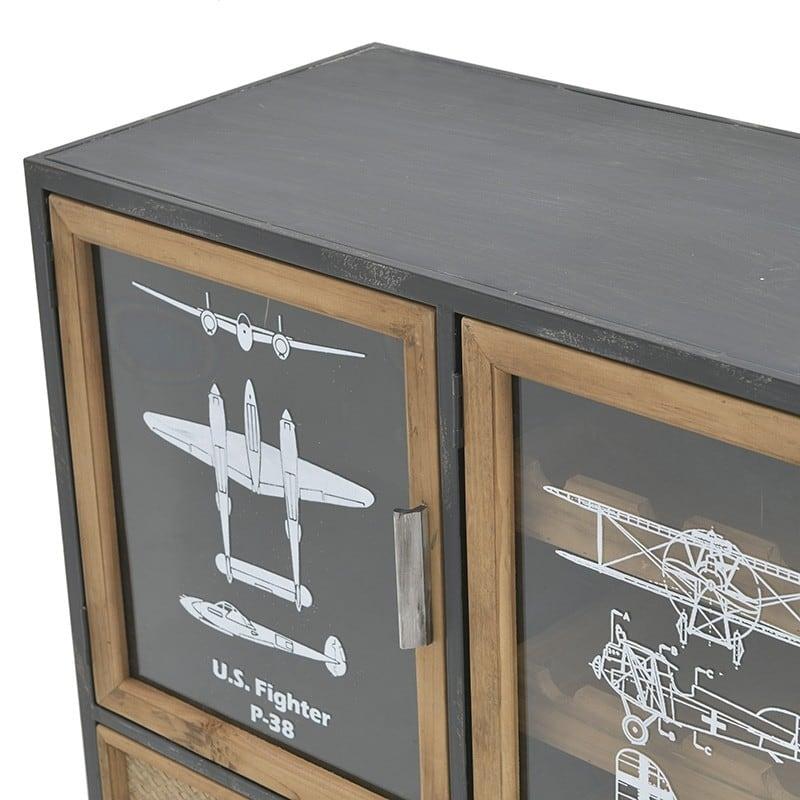 Μπουφές/ Κάβα Ξύλινος/ Μεταλλικός Natural/ Μαύρος 'Airplanes' 120x40x80, Inart