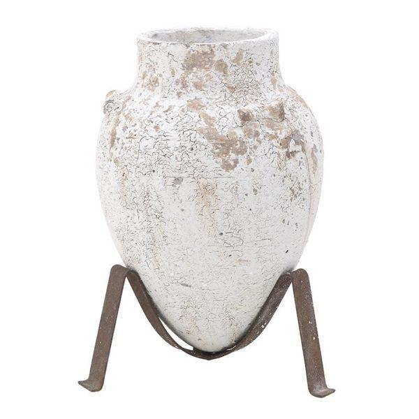 Διακοσμητικό Πιθάρι Κεραμικό Σε Βάση Αντικέ Λευκό Δ35 Υ55, Inart