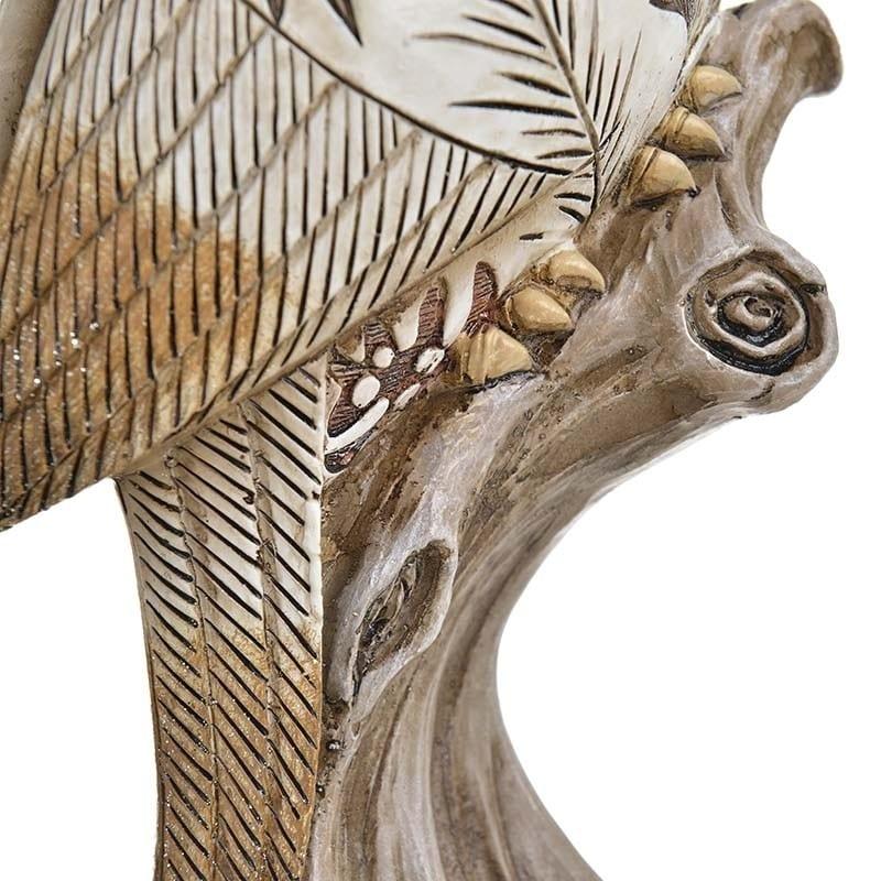 Κηροπήγιο 'Παπαγάλος' Natural/ Λευκό 15x10x34, Inart