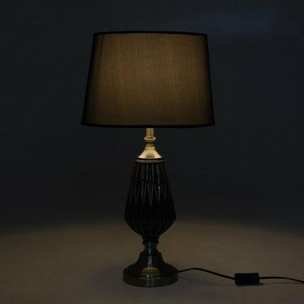 Επιτραπέζιο Φωτιστικό Κεραμικό/ Μεταλλικό Μαύρο/ Ασημί 33x33x68, Inart