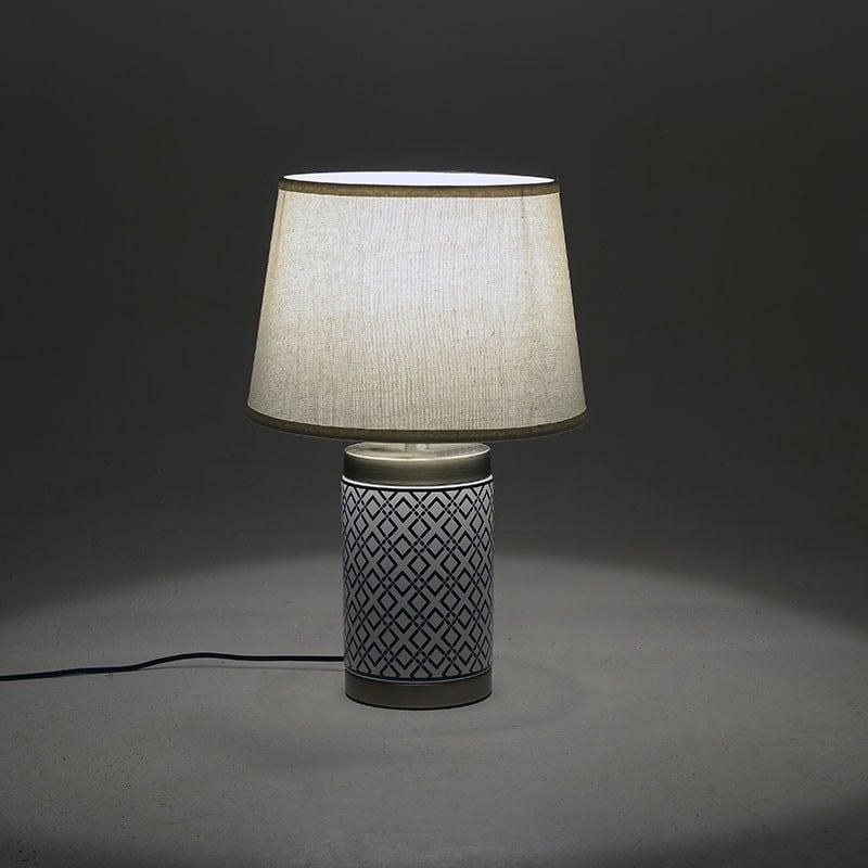 Επιτραπέζιο Φωτιστικό Κεραμικό Λευκό/ Μαύρο 34x34x62, Inart