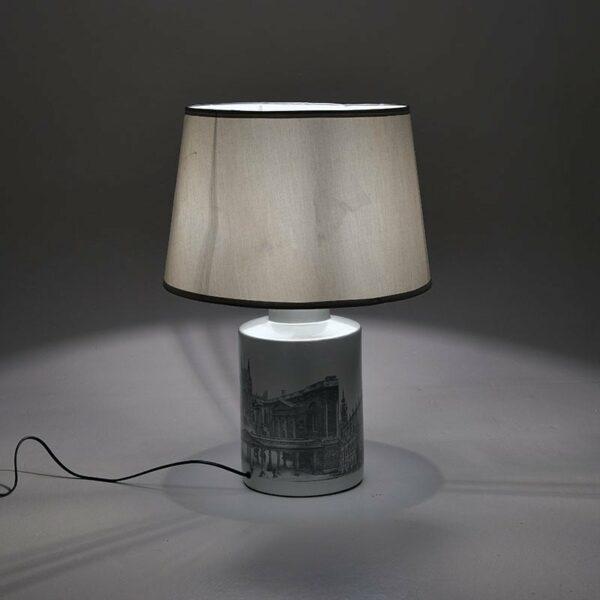 Επιτραπέζιο Φωτιστικό Κεραμικό Ασημί Με Τύπωμα 43x43x62, Inart