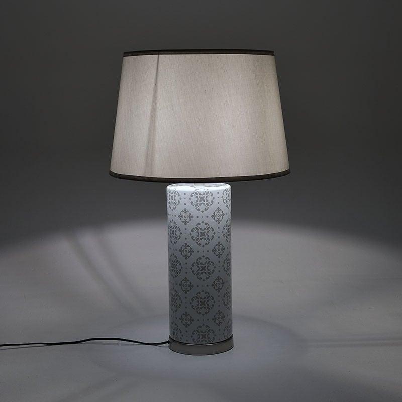 Επιτραπέζιο Φωτιστικό Κεραμικό Γκρι/ Ασημί 43x72x43, Inart