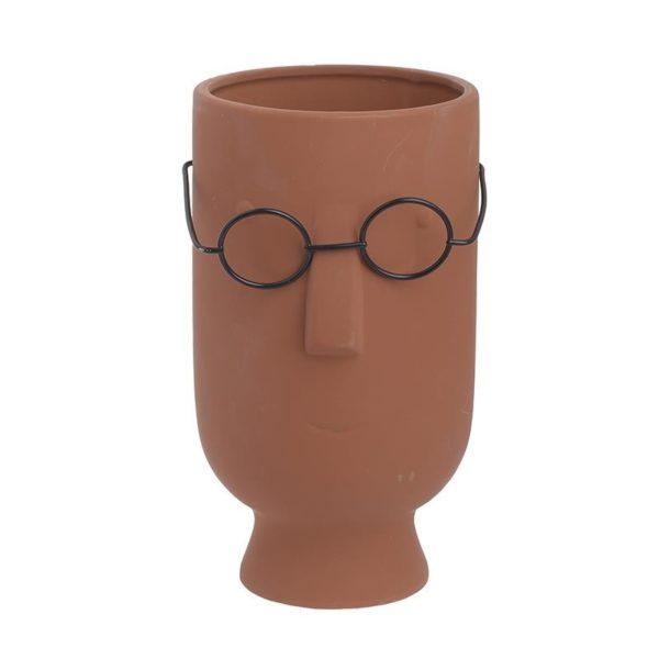 Επιτραπέζιο Κασπό 'Terracotta Face' Με Γυαλία Δ12 Υ22, Inart