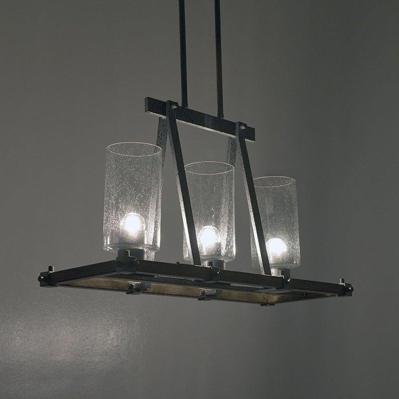 Φωτιστικό Οροφής 3φωτο Αντικέ Μεταλλικό/ Ξύλινο Natural/ Γκρι 55x23x35, Inart