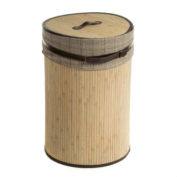 Καλάθι Απλύτων Στρόγγυλο Bamboo/ Ύφασμα Με Καπάκι Natural Beige/ Γκρι Υ60