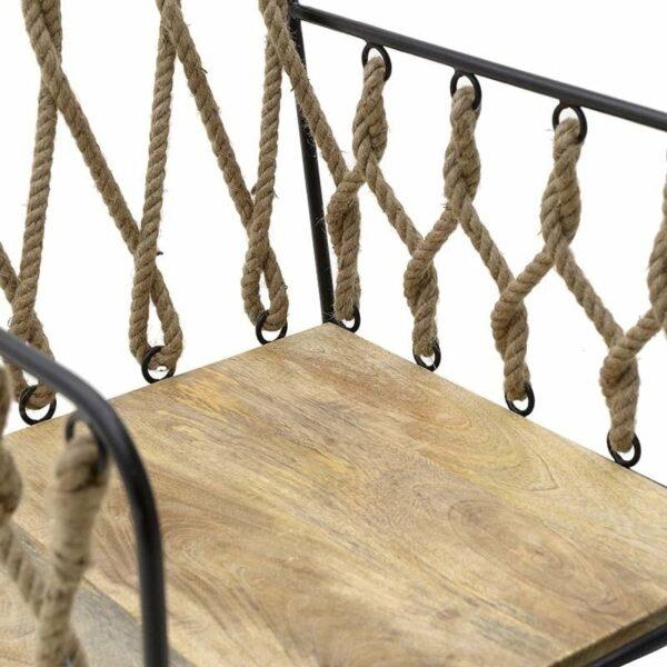 Καρέκλα Μεταλλική Με Σχοινί Natural/ Μαύρη 50x50x82/46, Inart