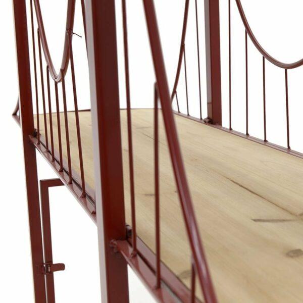 Κονσόλα Ξύλινη Natural Με Μεταλλικό Κόκκινο Σκελετό 'Ρίο Αντίριο' 125x36x105cm, Inart