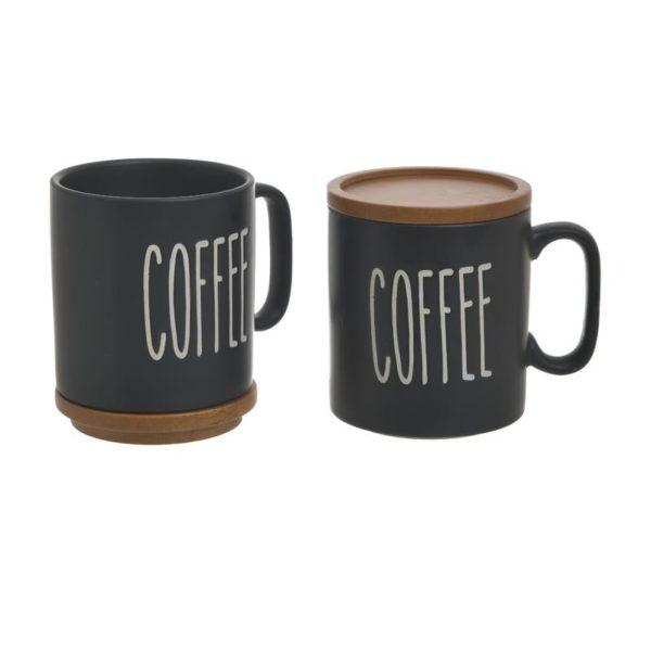 Κούπα Καφέ Πορσελάνινη Black Graphics Με Καπάκι/ Σουβέρ, Σετ Των 2, Inart