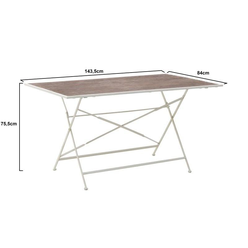 Τραπέζι Ξύλινο/ Μεταλλικό Natural/ Λευκό 143.5x84x75.5, Inart