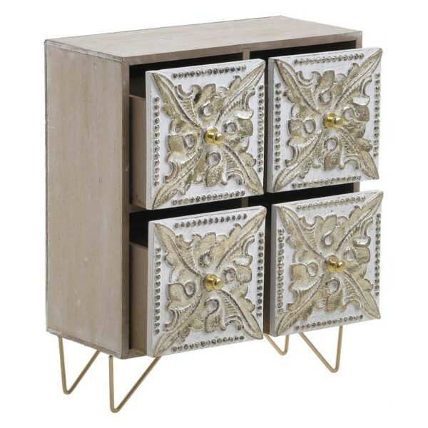 Κουτί/ Μίνι Συρταριέρα Ξύλινη Αντικέ Natural/ Χρυσή 22x11x27, Inart