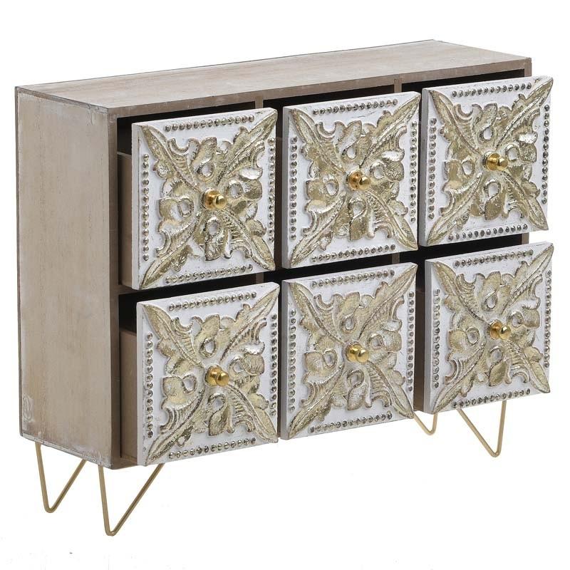 Κουτί/ Μίνι Συρταριέρα Ξύλινη Αντικέ Natural/ Χρυσή 33x11x27, Inart