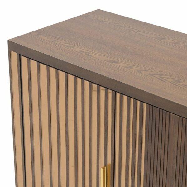 Ντουλάπι Ξύλινο 2θέσιο Καφέ Με Χρυσό Καθρέπτη 120x40x80cm, Inart