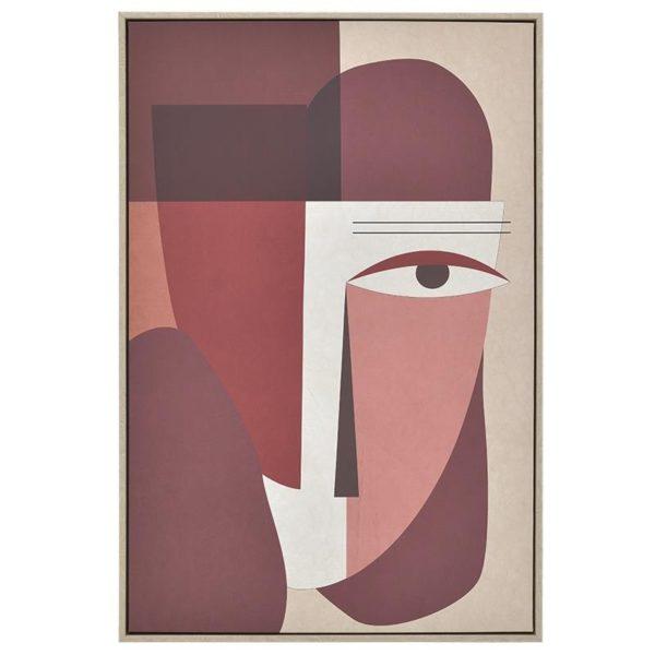Πίνακας Σε Κορνίζα Μπορντό/ Terracotta 'Πρόσωπο Picasso' 60×90, Inart