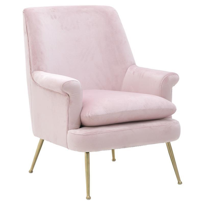 Πολυθρόνα Art Deco Βελούδινη Ροζ Με Μεταλλικά Χρυσά Πόδια 80x90x90/50, Inart
