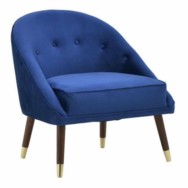 Πολυθρόνα Βελούδινη Μπλε Με Μεταλλικά/ Ξύλινα Πόδια 74x70x78/46, Inart