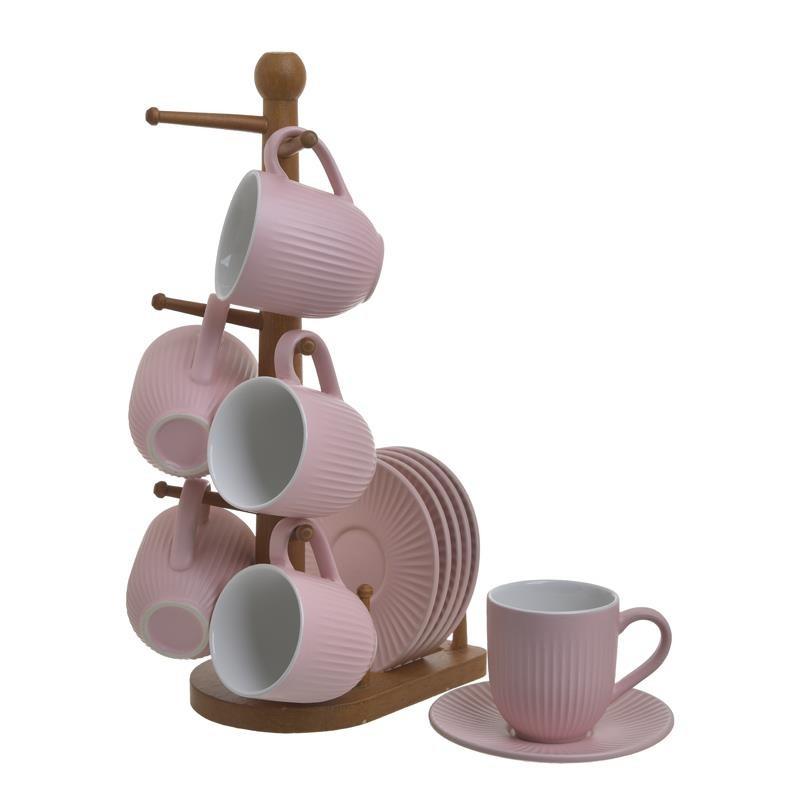 Σετ Καφέ Πορσελάνινα Ροζ Vintage, Με 6 Φλυτζάνια Και Πιατάκια Σε Βάση, Inart