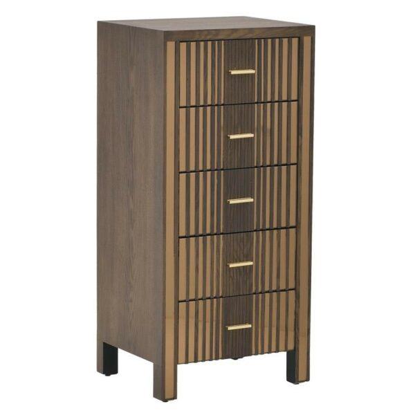 Συρταριέρα Ξύλινη 5θέσια Καφέ Με Χρυσό Καθρέπτη 50x40x106cm, Inart
