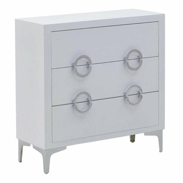 Συρταριέρα Ξύλινη 3θέσια Λευκή/ Ασημί 78x30x78, Inart