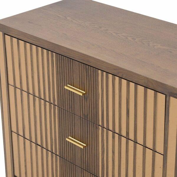 Συρταρτιέρα Ξύλινη 3θέσια Καφέ Με Χρυσό Καθρέπτη 80x40x72cm, Inart