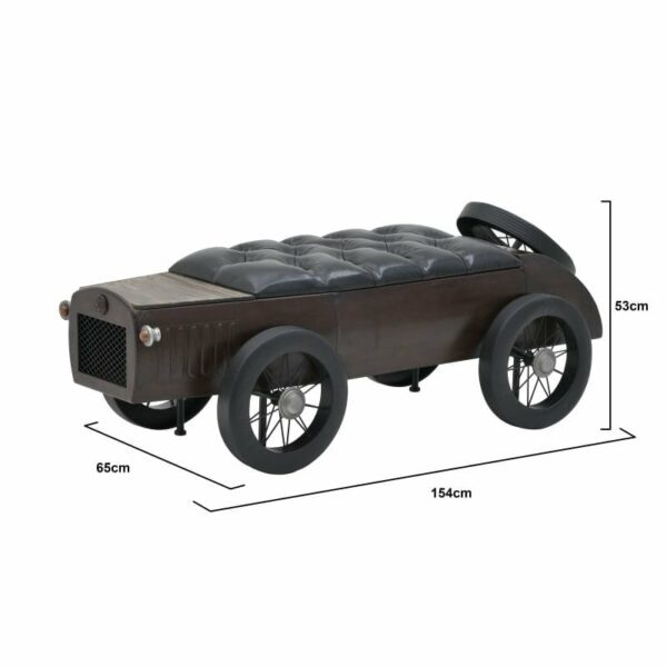 Σκαμπό/ Ταμπουρέ Ξύλινο Καφέ/ Μαύρο 'Αυτοκίνητο' 154x65x53, Inart
