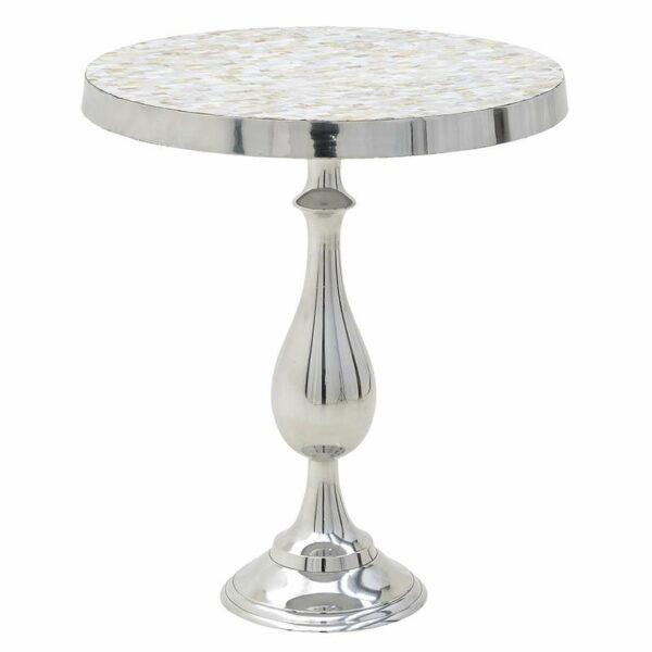 Τραπέζι Βοηθητικό Αλουμινίου Ασημί 55x63cm, Inart