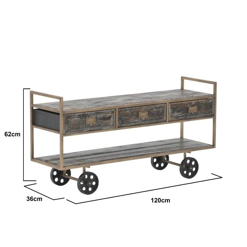 Τραπέζι Σαλονιού Τροχήλατο Αντικέ Μεταλλικό/ Ξύλινο Καφέ/ Μπρονζέ 120x36x62, Inart
