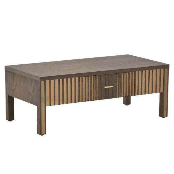 Τραπέζι Σαλονιού Ξύλινο Καφέ Με Χρυσό Καθρέπτη 120x60x45, Inart
