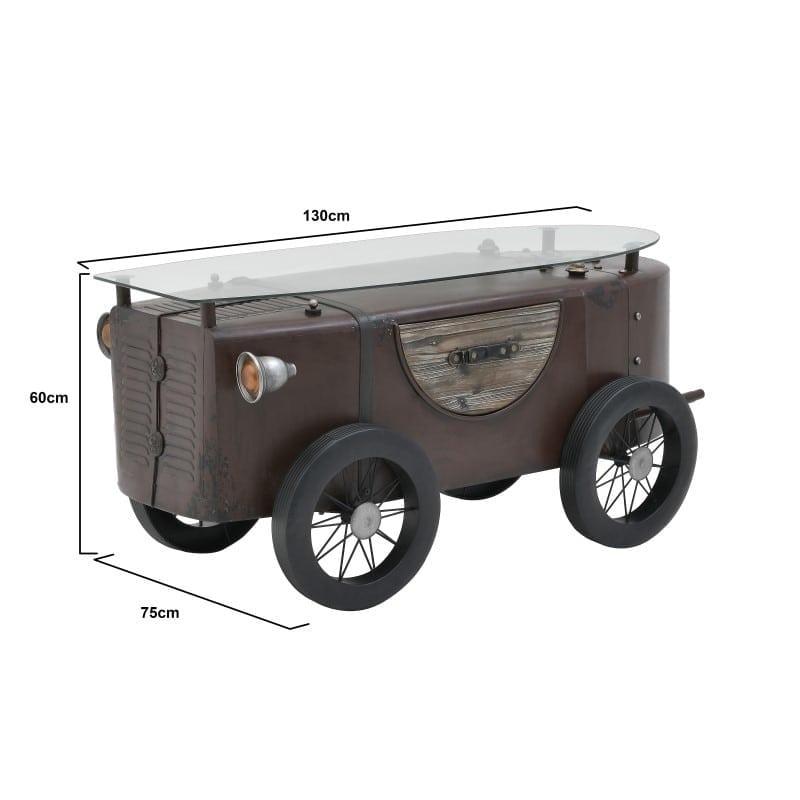 Τραπέζι Σαλονιού Αντικέ Καφέ/ Μαύρο 'Αυτοκίνητο' 130x75x60, Inart