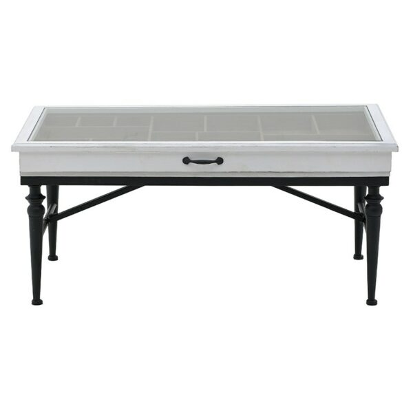 Τραπέζι Σαλονιού/ Βιτρίνα Ξύλινο/ Μεταλλικό Μαύρο/ Λευκό 108x62x49, Inart