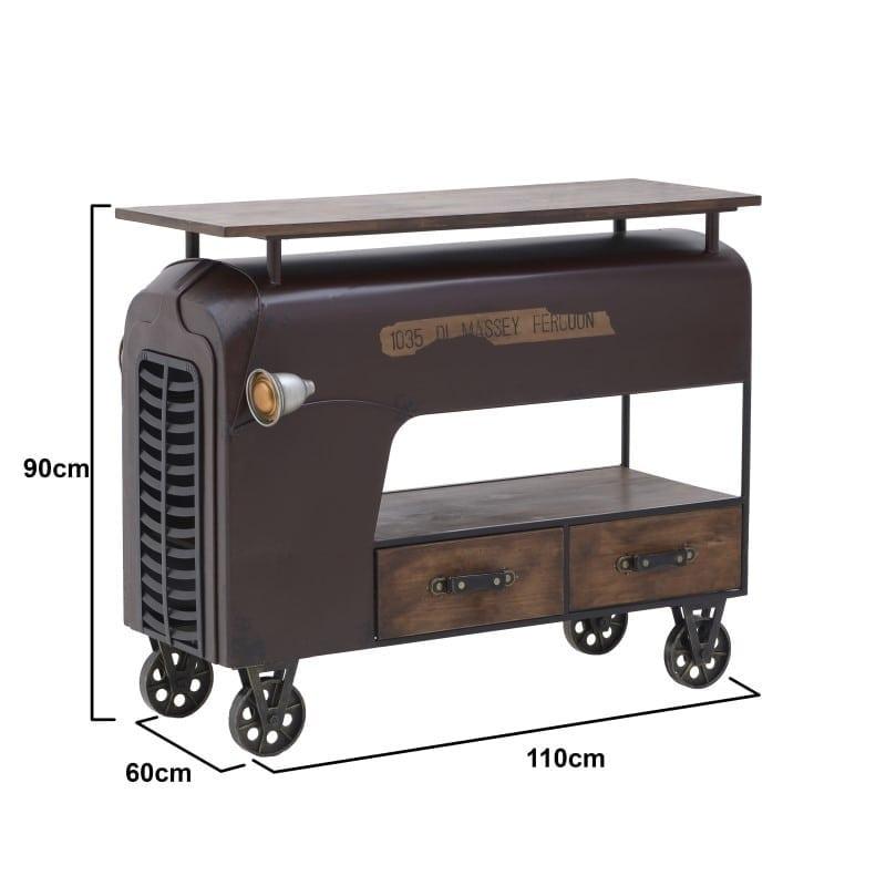 Τραπέζι Σαλονιού Vintage Ξύλινο/ Μεταλλικό Καφέ 'Tractor' 110x60x90, Inart