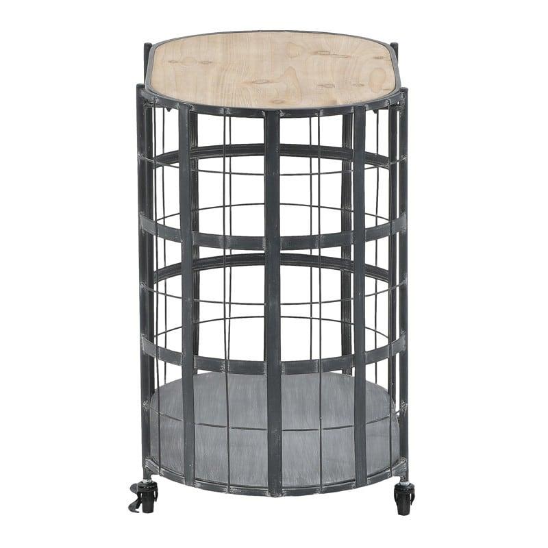 Τραπέζι Τροχήλατο Μεταλλικό/ Ξύλινο Μαύρο/ Natural 63x39x60, Inart