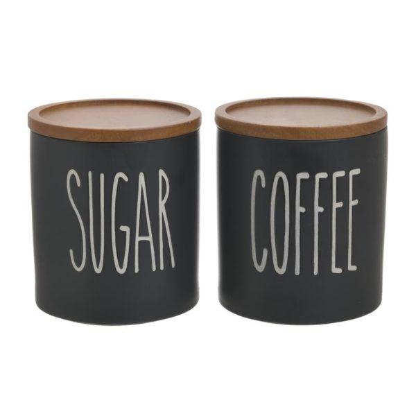 Βάζα Αποθήκευσης Καφέ/ Ζάχαρης Πορσελάνινο Black Graphics, Σετ Των 2, Inart