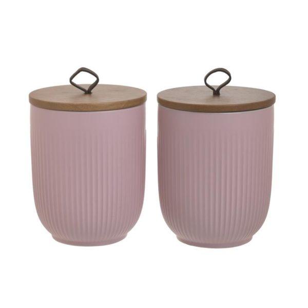 Βάζα Αποθήκευσης Καφέ/ Ζάχαρης Πορσελάνινο Ροζ Vintage, Σετ Των 2, Inart