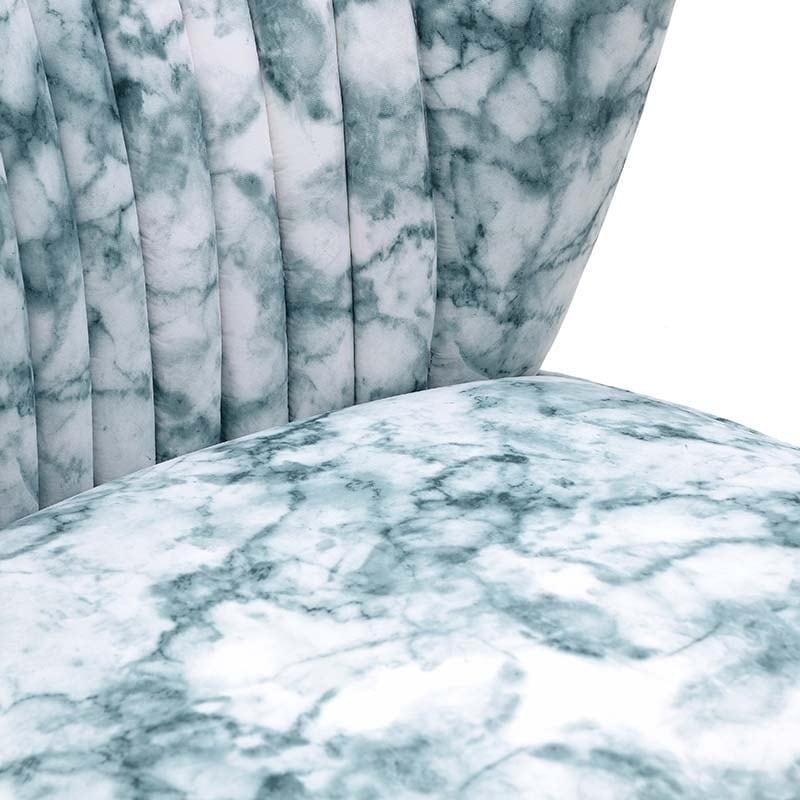 Καρέκλα Υφασμάτινη Με Όψη Μαρμάρου Λευκή/ Πράσινη 65x72.5x74/41, Inart