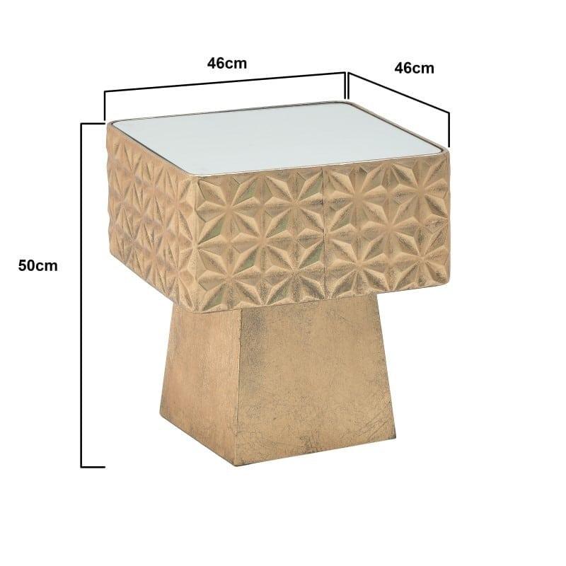 Τραπέζι Βοηθητικό Τετράγωνο Μεταλλικό Αντικέ Με Καθρέπτη Χρυσό 46x46x50, Inart