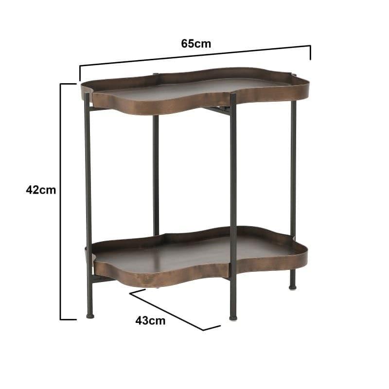 Τραπέζι Σαλονιού/ Μπάρ Με Ράφι Μεταλλικό Αντικέ Μαύρο/ Μπρoνζέ 65x43x42, Inart