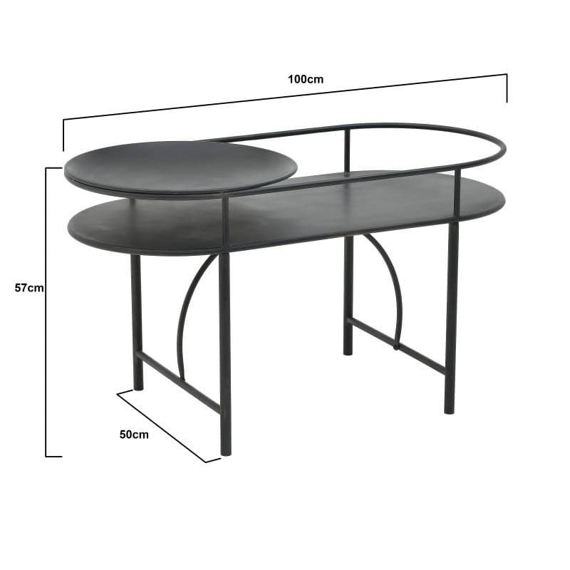 Τραπέζι Σαλονιού Μεταλλικό Με Στρόγγυλη Λεπτομέρεια Μαύρο 100x50x57, Inart