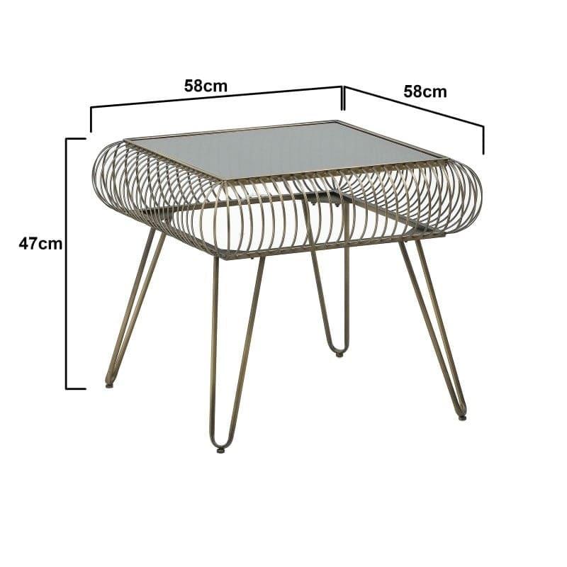 Τραπέζι Σαλονιού Γυάλινο/ Μεταλλικό Αντικέ Μαύρο/ Χρυσό 58x58x47, Inart