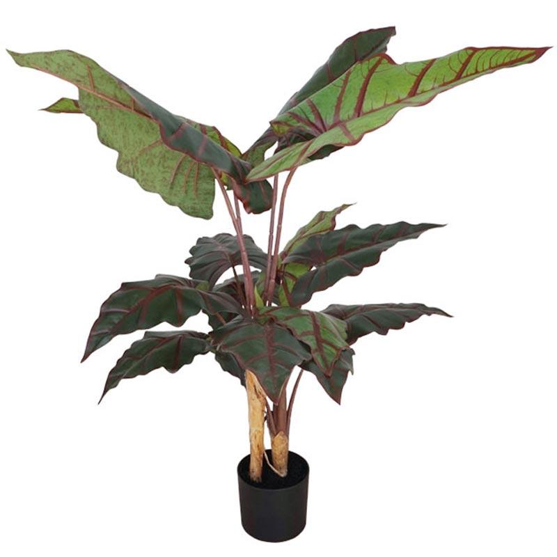 Τεχνητό Δέντρο Αλοκάσια Πράσινο/ Κόκκινο 14φ Real Touch Σε Γλάστρα Υ120