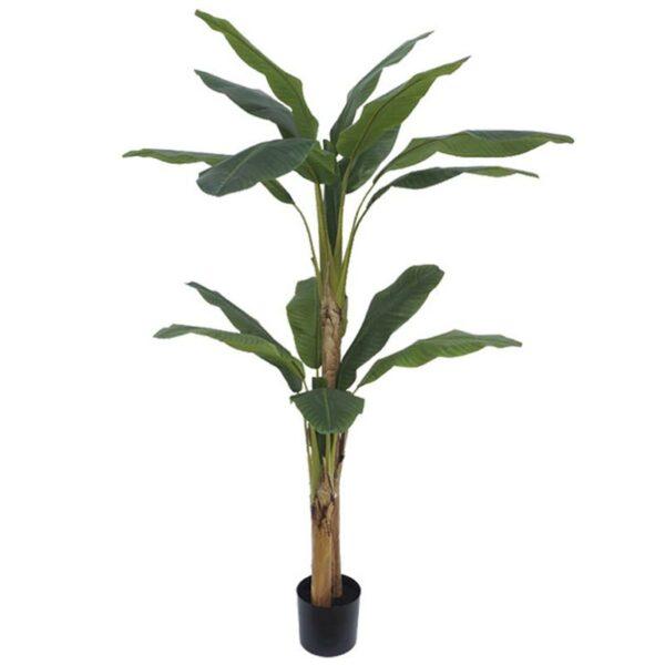 Τεχνητό Δέντρο Μπανανιά Διπλή 13φ Πράσινη Σε Γλάστρα Υ190