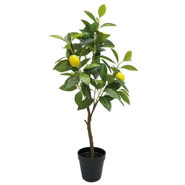 Τεχνητό Δέντρο Mini Λεμονιά Πράσινο/ Κίτρινο Real Touch Σε Γλάστρα Υ72