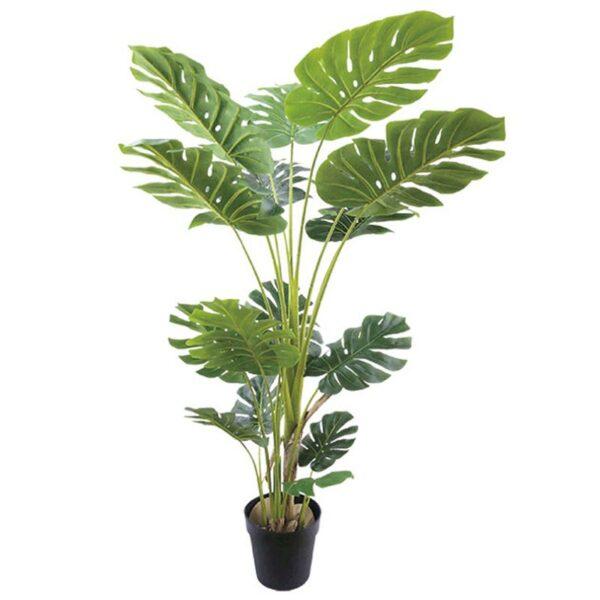 Τεχνητό Δέντρο Μονστέρα Πράσινο 145φ Real Touch Σε Γλάστρα Υ150