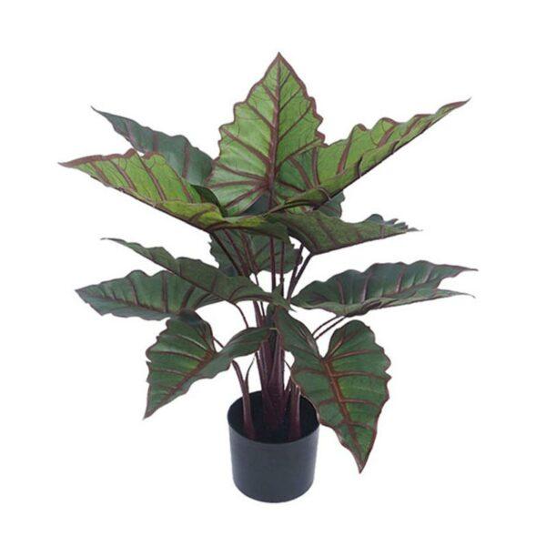 Τεχνητό Φυτό Αλοκάσια Πράσινο/ Κόκκινο 13φ Real Touch Σε Γλάστρα Υ73