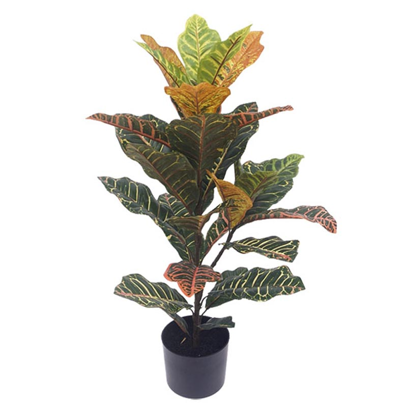 Τεχνητό Φυτό Κροτόν Πράσινο/ Πορτοκάλι 31φ Real Touch Σε Γλάστρα Υ75