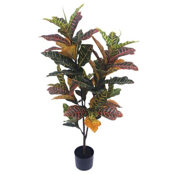 Τεχνητό Φυτό Κροτόν Πράσινο/ Πορτοκάλι 72φ Real Touch Σε Γλάστρα Υ120